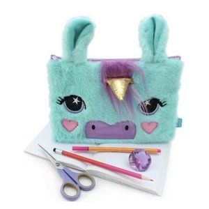 Fuzzy Unicorn Pencil Case Pouch For 3 Ring Binder